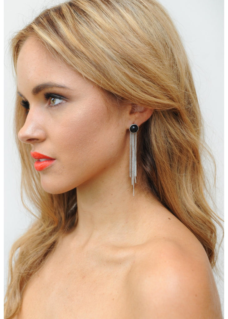 Shake It Up Earring - Silver & Black
