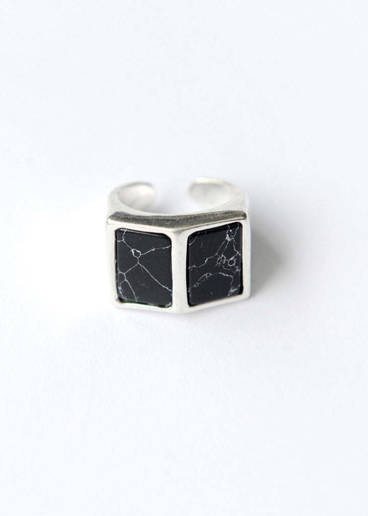 Side By Side Ring - Black Marble