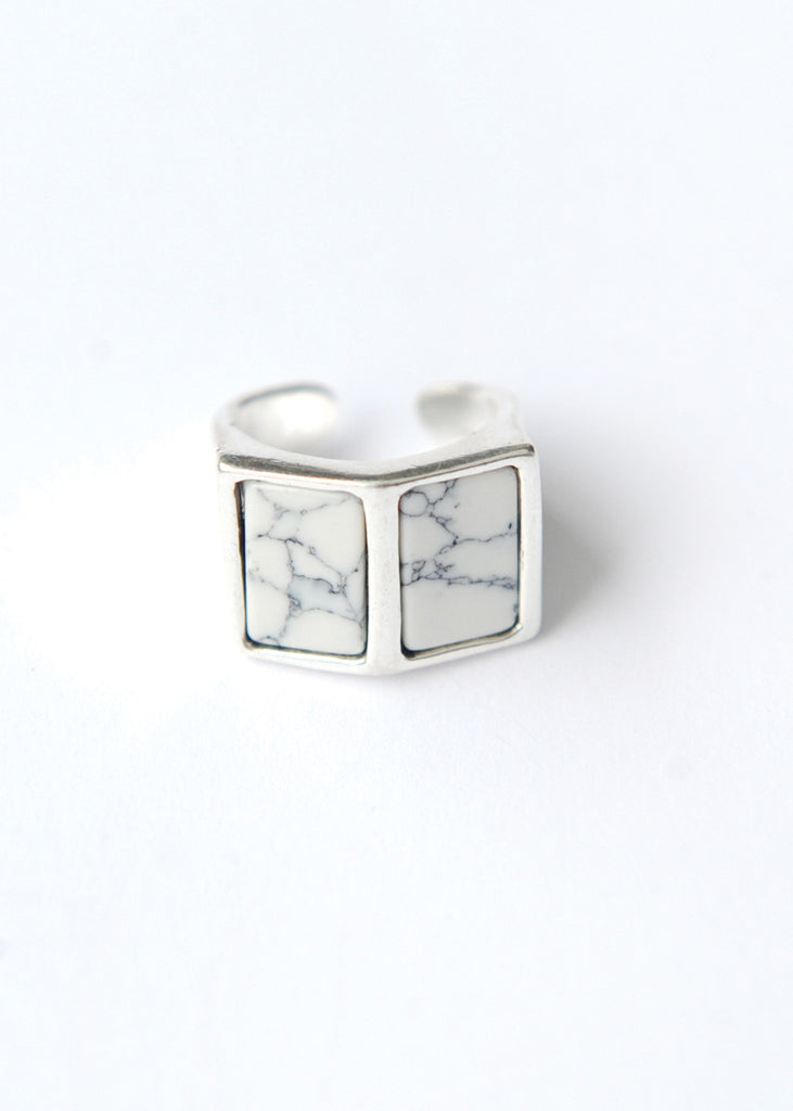 Side By Side Ring - White Marble