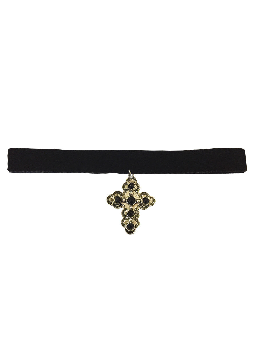 Cross My Heart Choker - Silver & Black