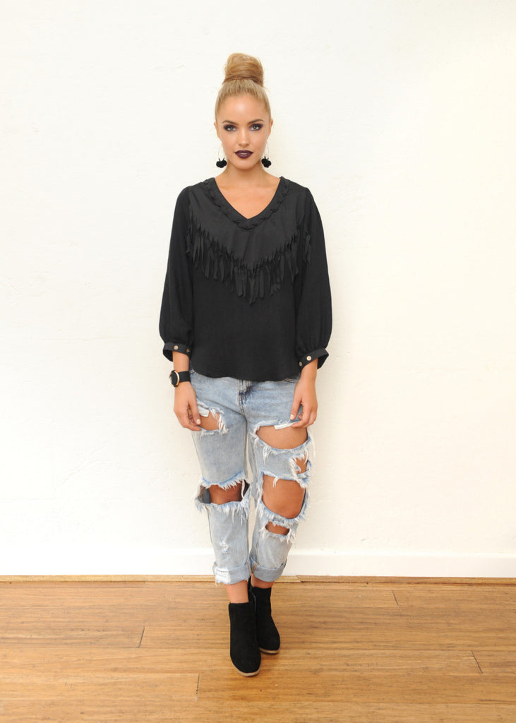 Willow Fringe Top - Black