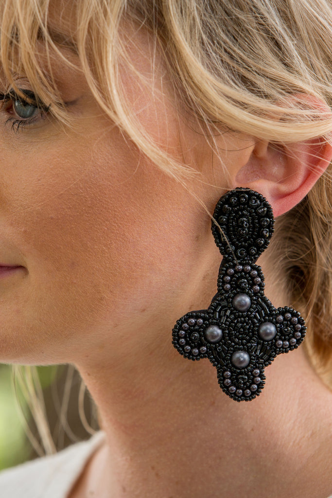 Peace Earring- Black