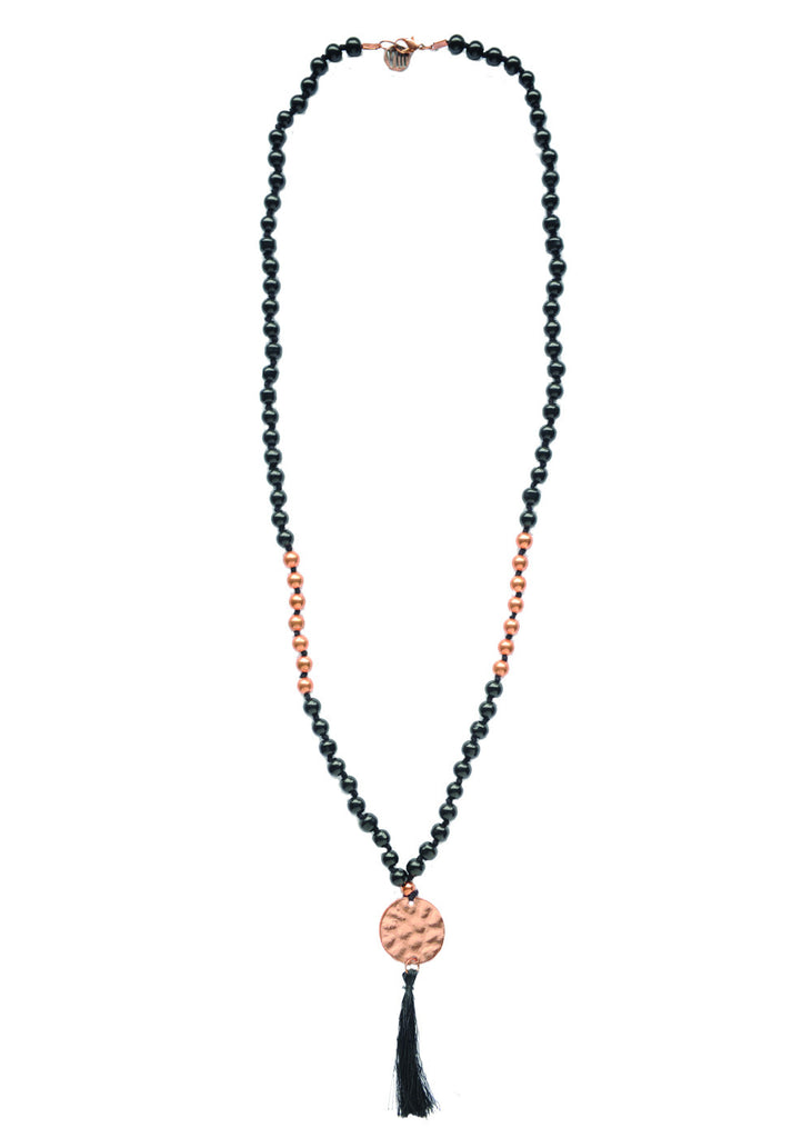Congo Beaded Tassel Necklace - Black & Rose Gold