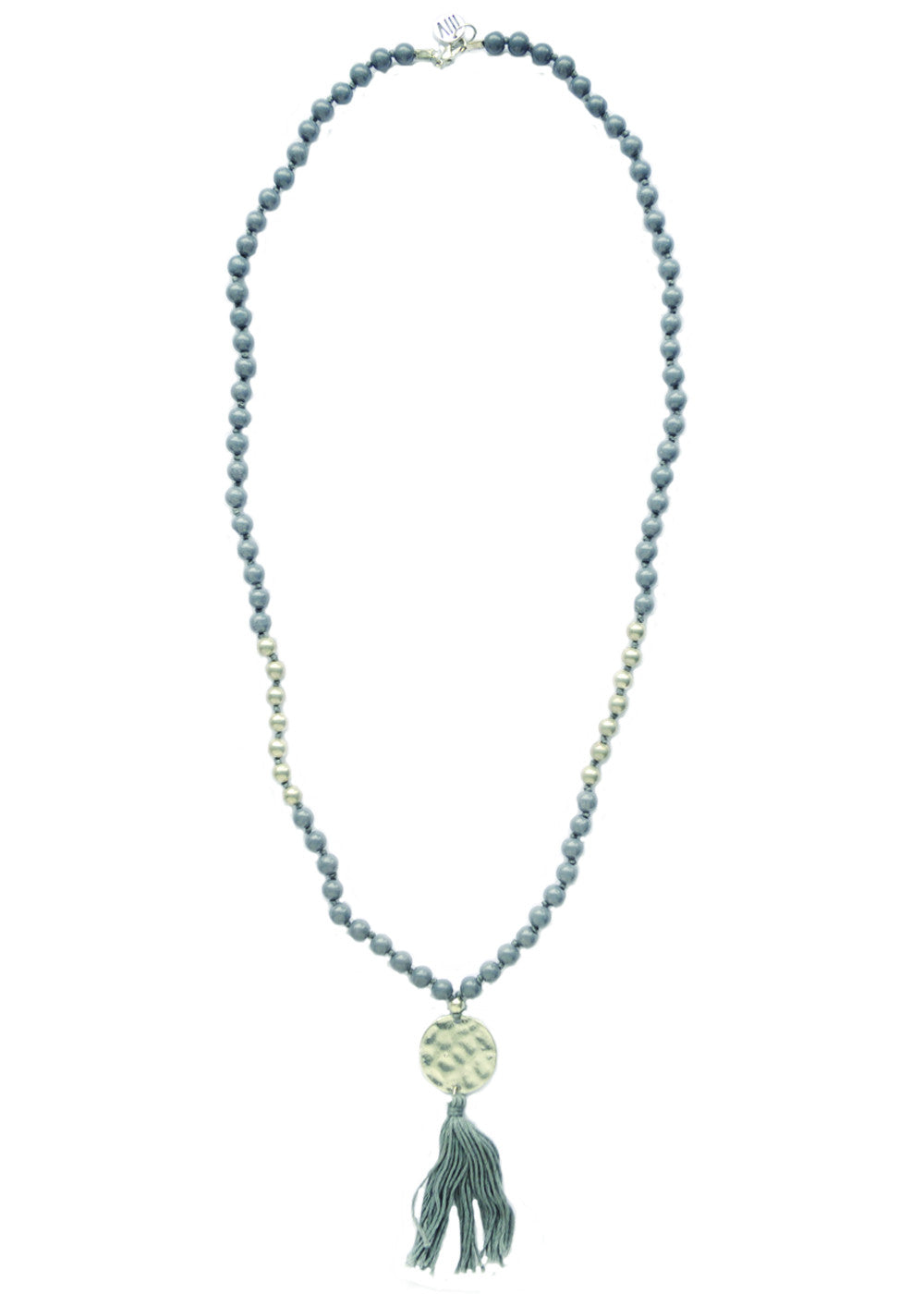Congo Beaded Tassel Necklace - Grey & Silver