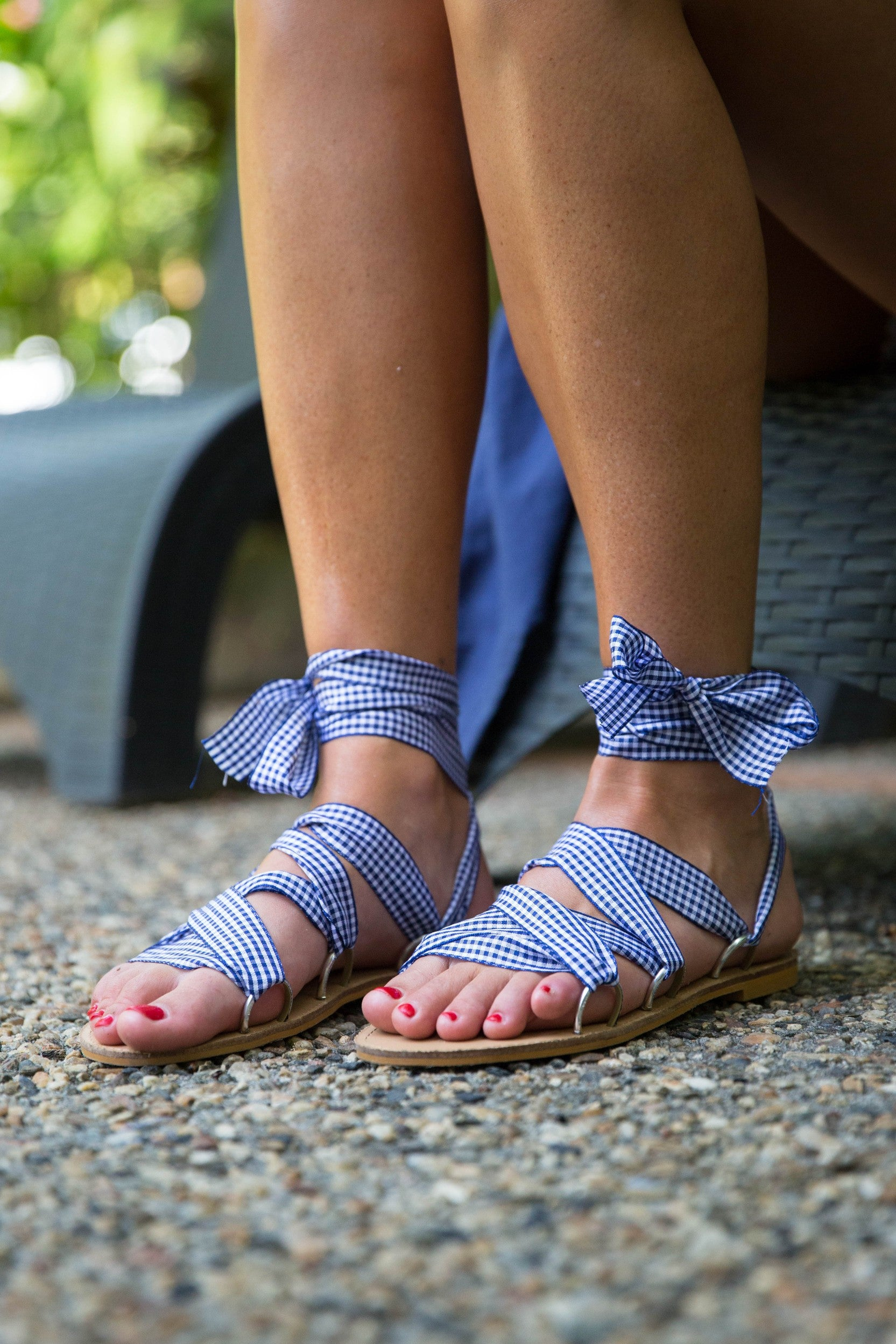 Paradise Wrap Sandal - Navy Gingham & Orange Gingham