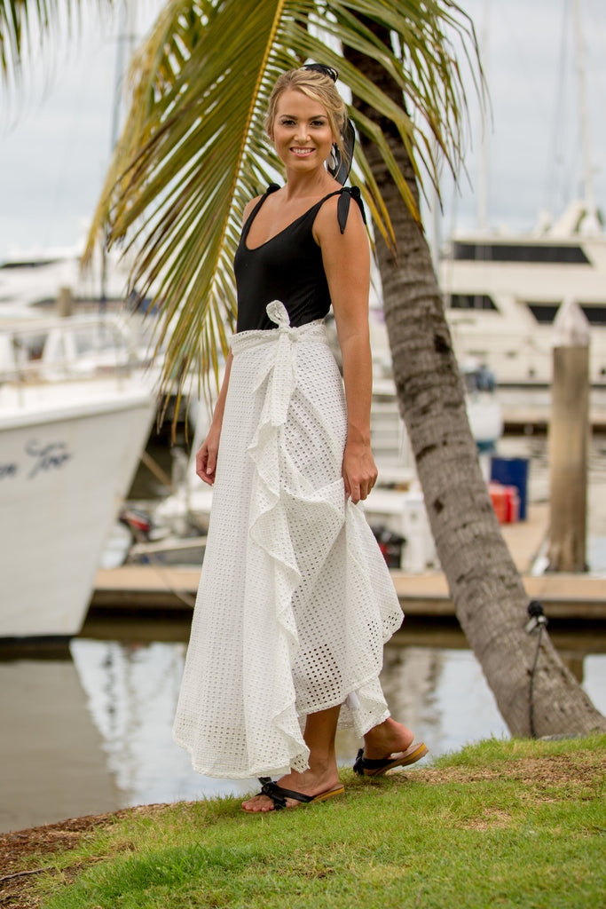 WILLOW WRAP SKIRT- Primrose White