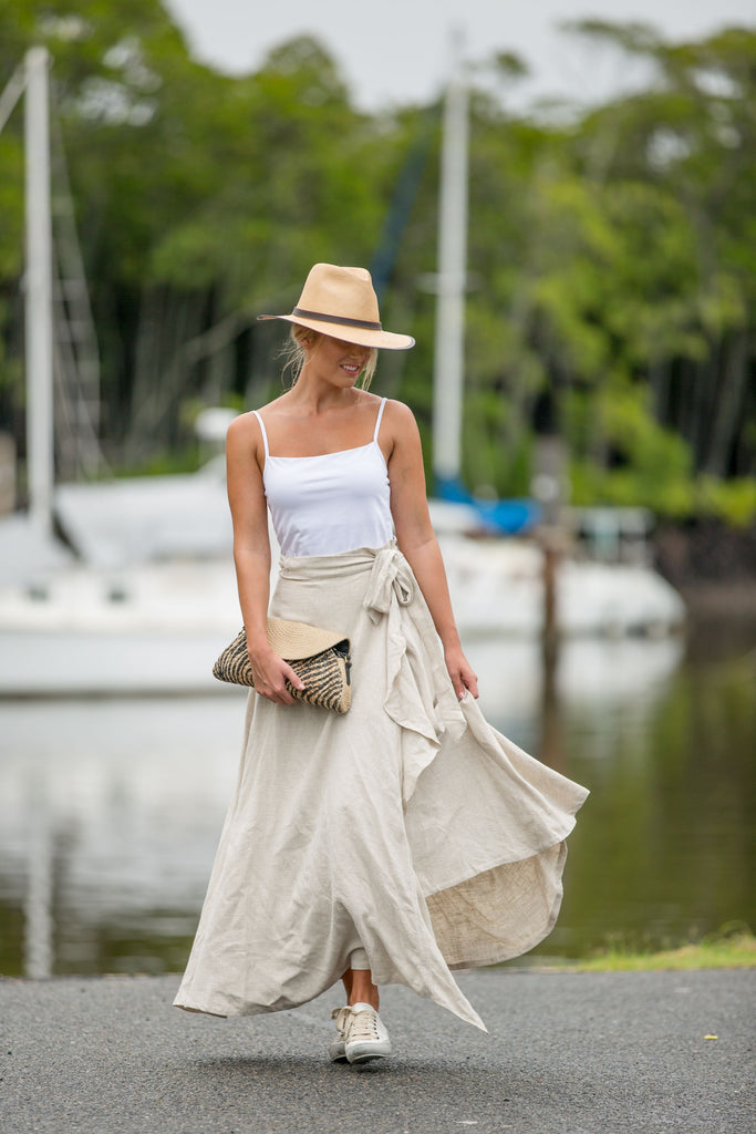 WILLOW WRAP SKIRT- Sand