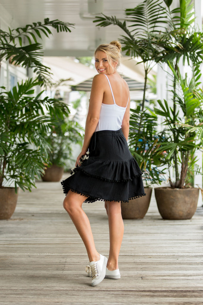 OLIVE WRAP SKIRT- Midnight