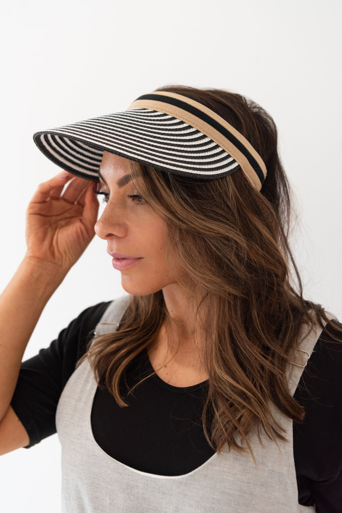 Pacific Visor - Black & White Stripe