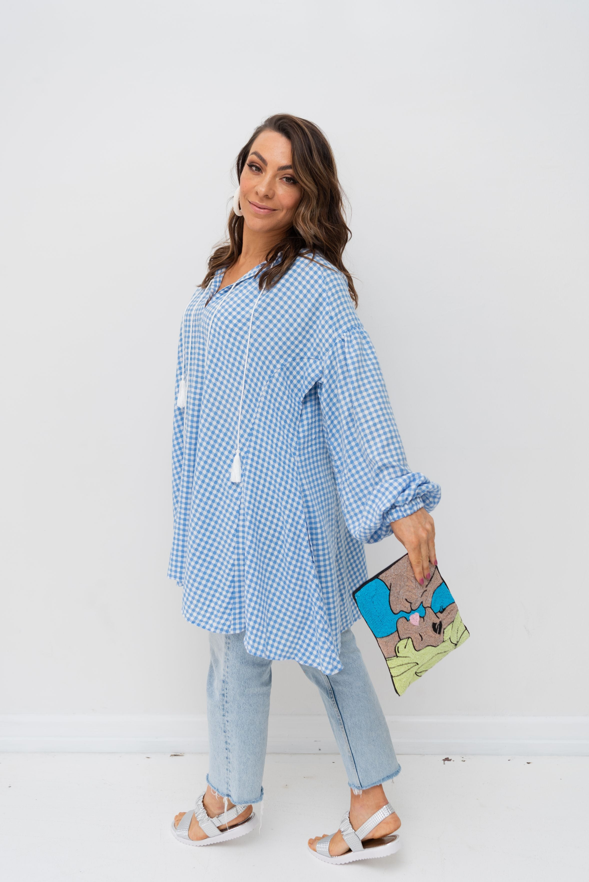 ALBA SHIRT / DRESS - Cornflower Gingham