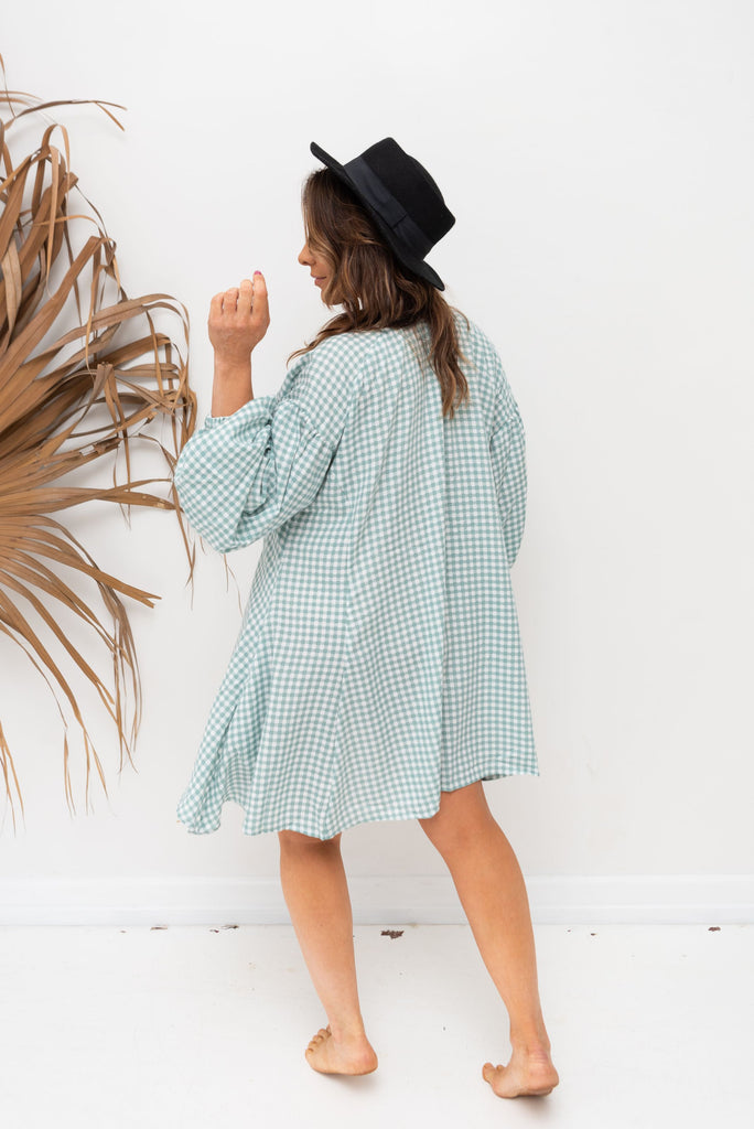 ALBA SHIRT / DRESS - Mint Gingham