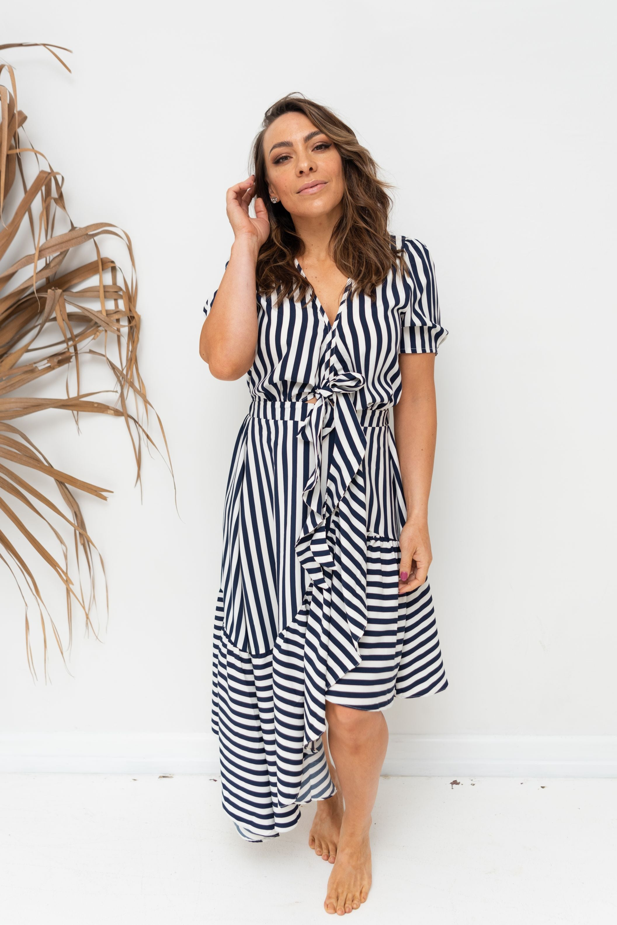 LIBBY DRESS - Inidgo Stripe