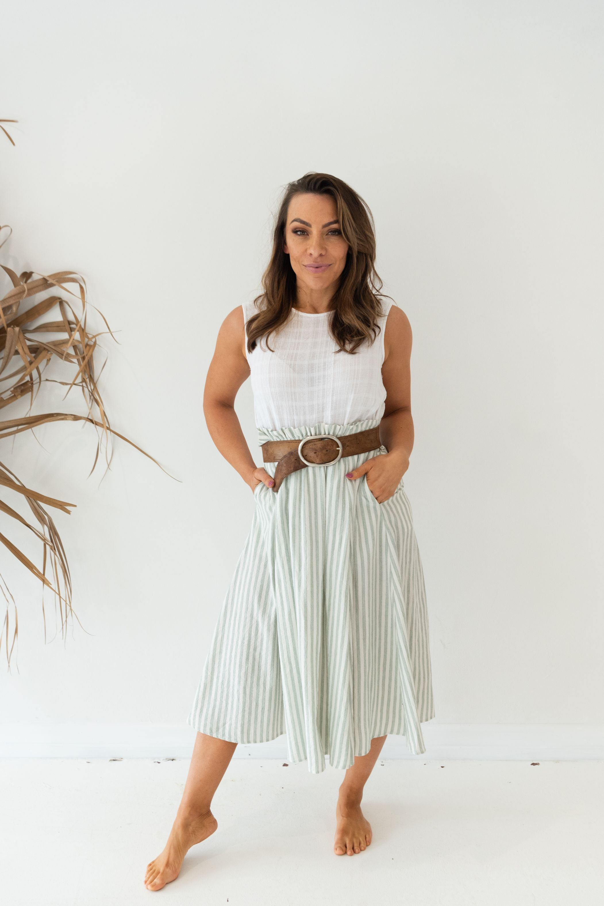 BIM SKIRT - Mint Stripe