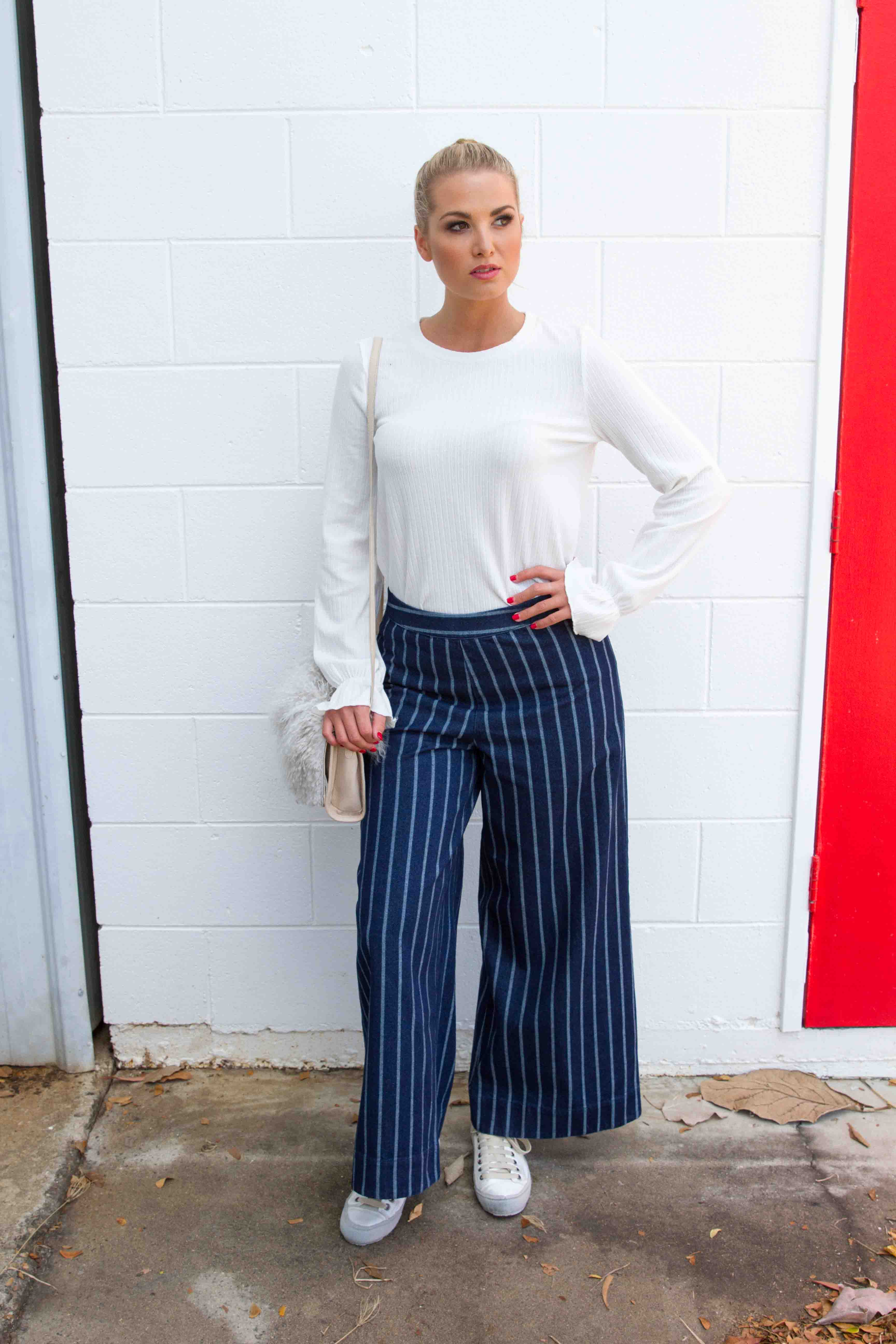 WILLA PANT - Denim Stripe