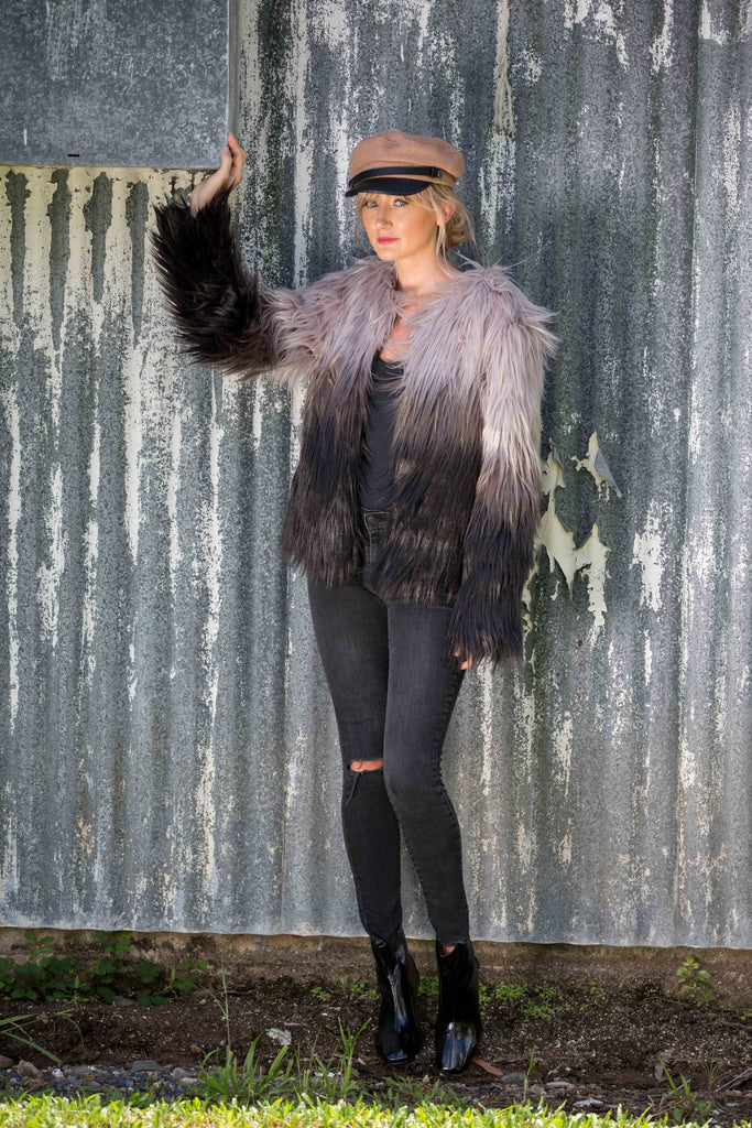 ASTA FAUX FUR JACKET - Black + White