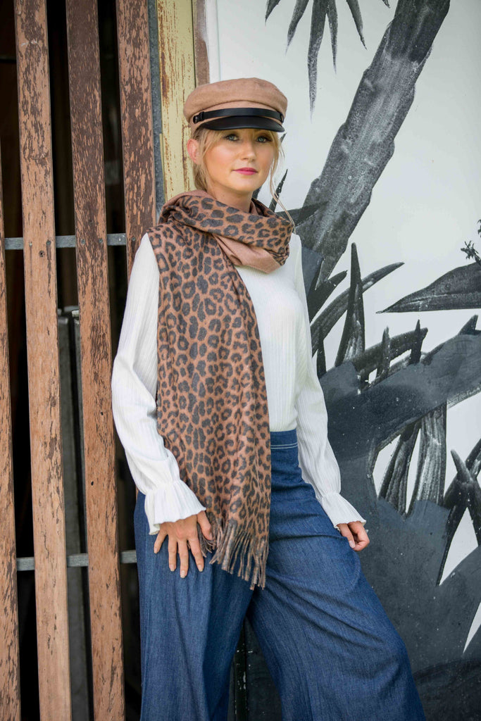 Leopard Scarf- Coffee