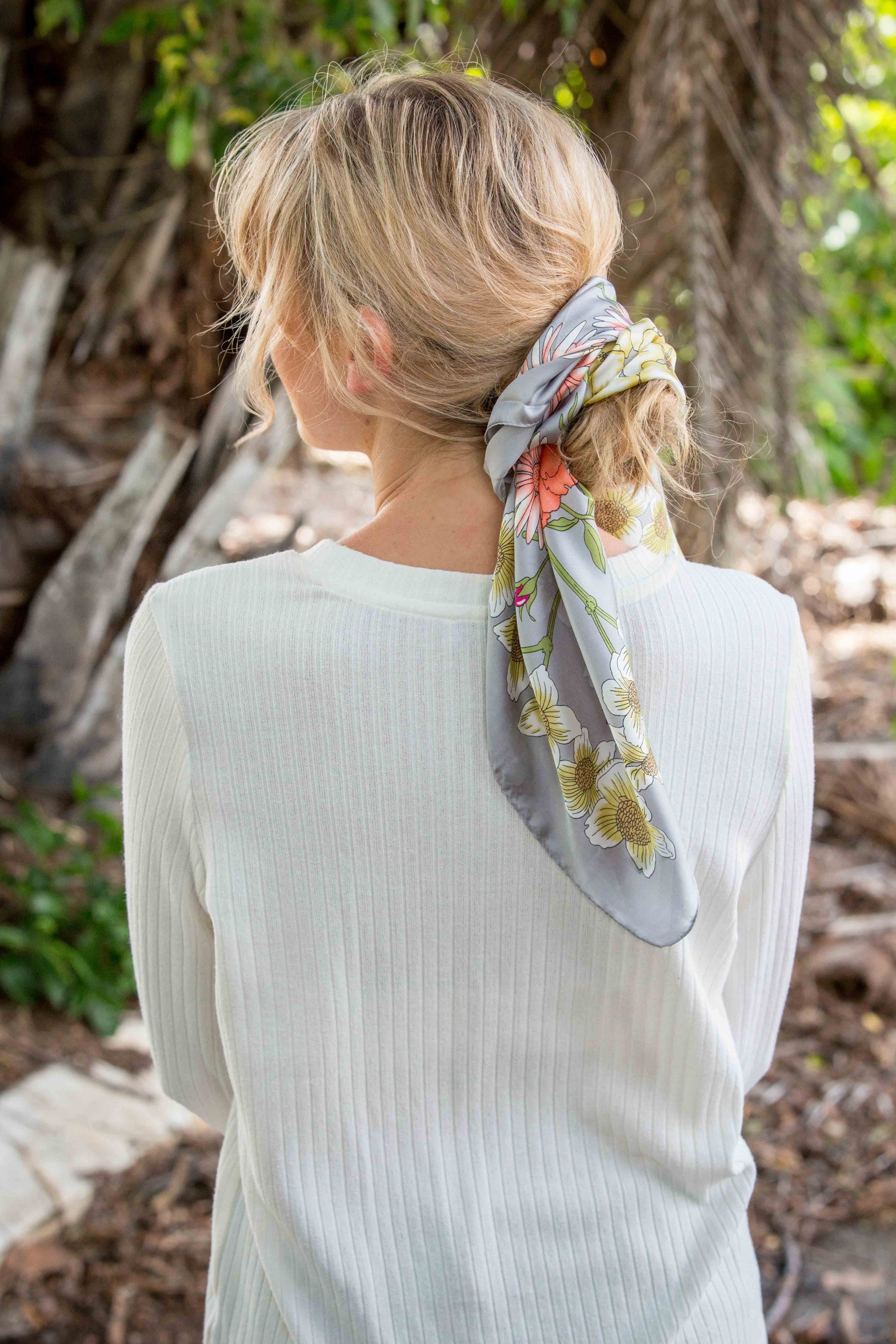 Wild Flower Scarf- Pewter