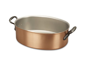 30 x 20cm Falk Copper Oval Casserole - Classical Range - Falk Culinair South Africa