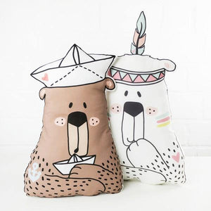 CUT & SEW - DIY Kit for One Sailor Bear Cushion with Two Paper Boats-DIY Kit-Jelly Fabrics