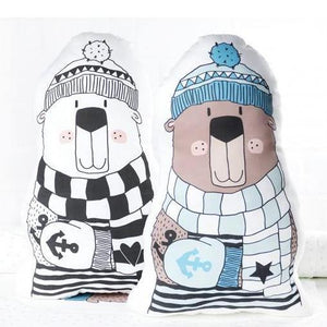 CUT & SEW - DIY Kit for Two Winter Bear Cushions in Mint and White-DIY Kit-Jelly Fabrics