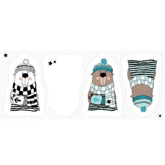 CUT & SEW - DIY Kit for Two Winter Bear Cushions in Mint and White