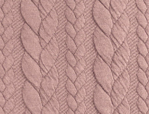 Cable Knit Jacquard Jersey Fabric - Solid in Old Rose-Jacquard-Jelly Fabrics