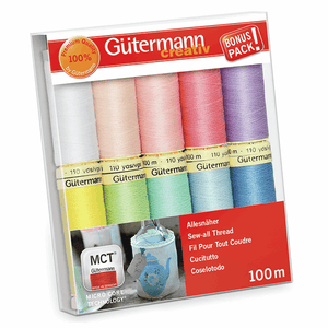 Gutermann Sew-All Thread Set - Assorted Pastel (10x 100M)-DIY Kit-Jelly Fabrics
