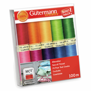 Gutermann Sew-All Thread Set - Assorted Brights (10x 100M)-DIY Kit-Jelly Fabrics