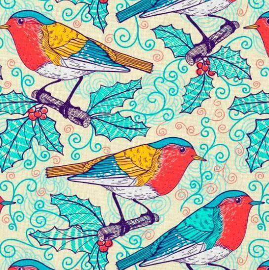 Cotton Jersey Fabric - Birds
