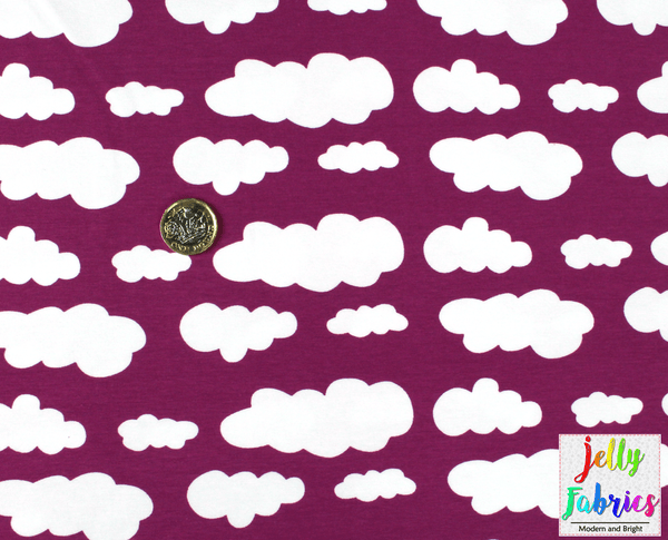 Jersey Fabric - Clouds in Berry
