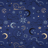 Jersey Fabric - Gold Foil Clouds and Stars in Blue-Jersey Fabric-Jelly Fabrics