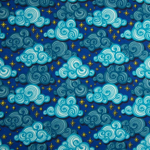 Cotton Jersey Fabric - Stormy Clouds Blue-Knit-Jelly Fabrics