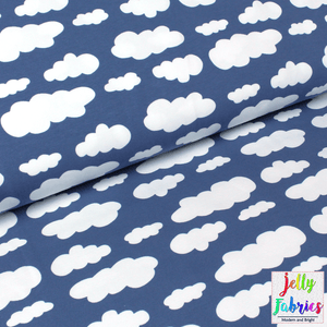 Jersey Fabric - Clouds in Blue Grey-Jersey Fabric-Jelly Fabrics