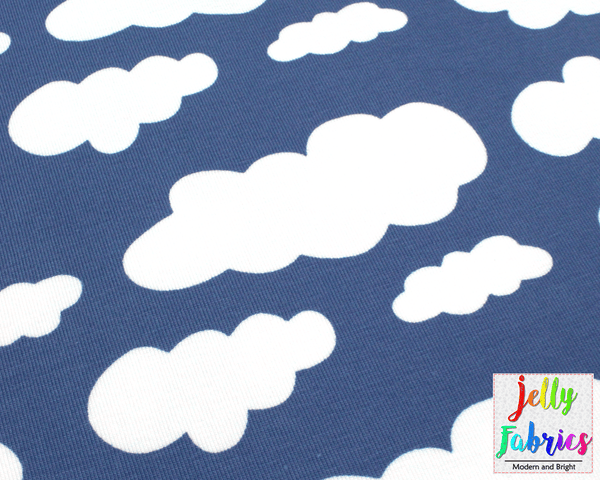 Jersey Fabric - Clouds in Blue Grey