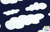 Jersey Fabric - Clouds in Dark Blue-Jelly Fabrics