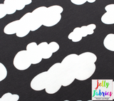 Jersey Fabric - Clouds in Dark Grey-Jersey Fabric-Jelly Fabrics
