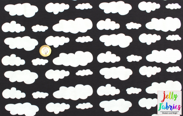 Jersey Fabric - Clouds in Dark Grey
