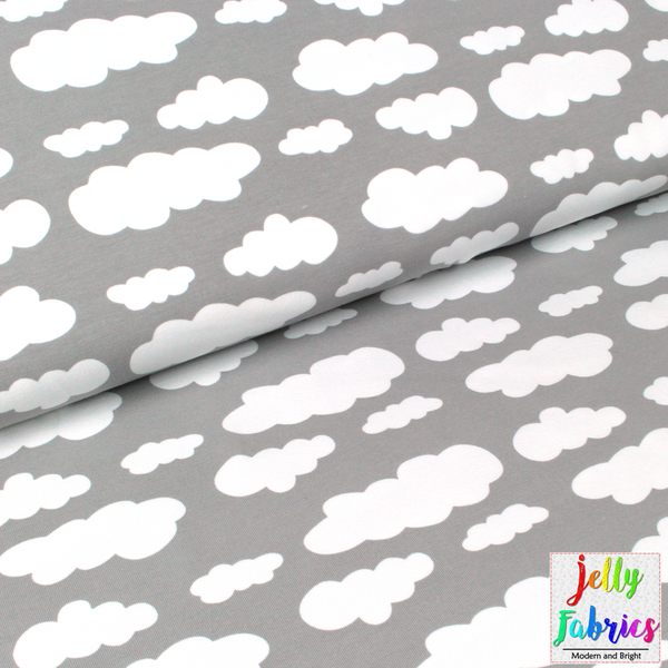 Jersey Fabric - Clouds in Grey
