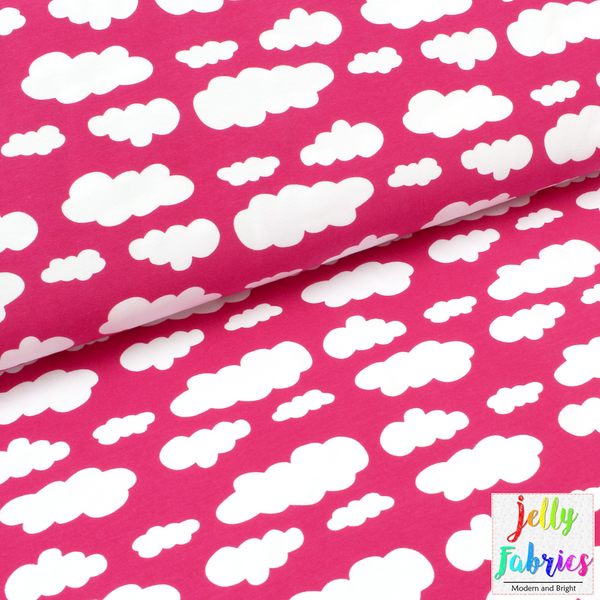 Jersey Fabric - Clouds in Honeysuckle Pink