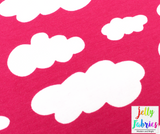Jersey Fabric - Clouds in Honeysuckle Pink-Jelly Fabrics