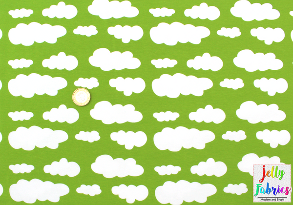 Jersey Fabric - Clouds in Kiwi Green