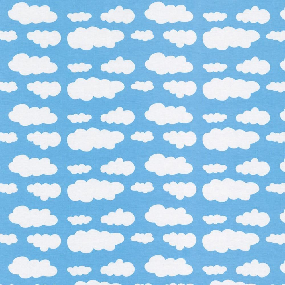 Jersey Fabric - Clouds in Light Blue
