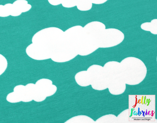 Jersey Fabric - Clouds in Pastel Mint