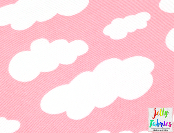 Jersey Fabric - Clouds in Pastel Pink