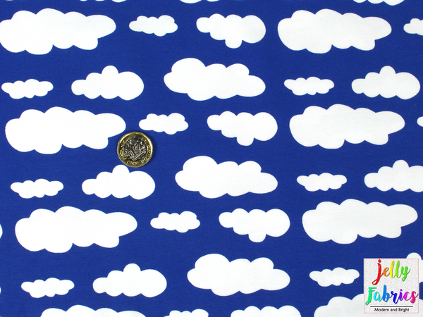 Jersey Fabric - Clouds in Royal Blue