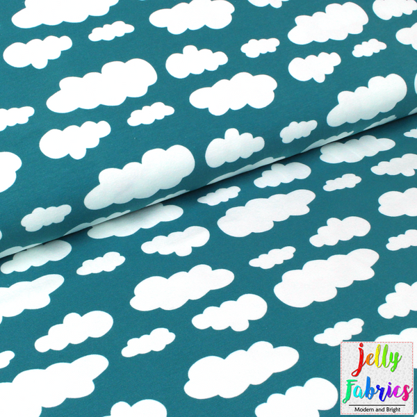 Jersey Fabric - Clouds in Teal
