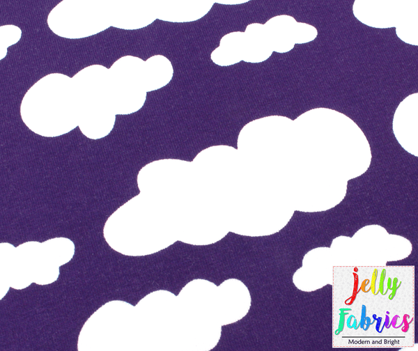 Jersey Fabric - Clouds in Violet
