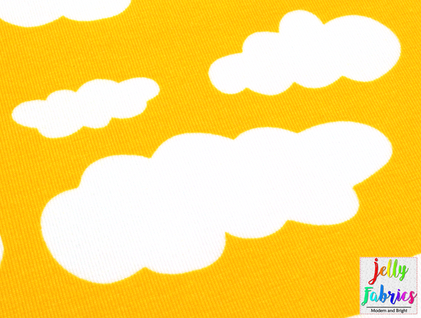 Jersey Fabric - Clouds in Bright Yellow
