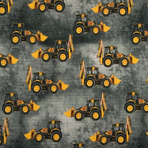Jersey Fabric - Excavators in Grey-Jelly Fabrics