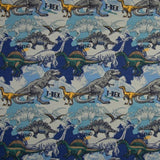 Cotton Jersey Fabric - T-Rex Dinosaurs in Blue-Jelly Fabrics